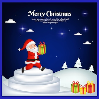 Cartão de natal com papai noel e caixa de presente