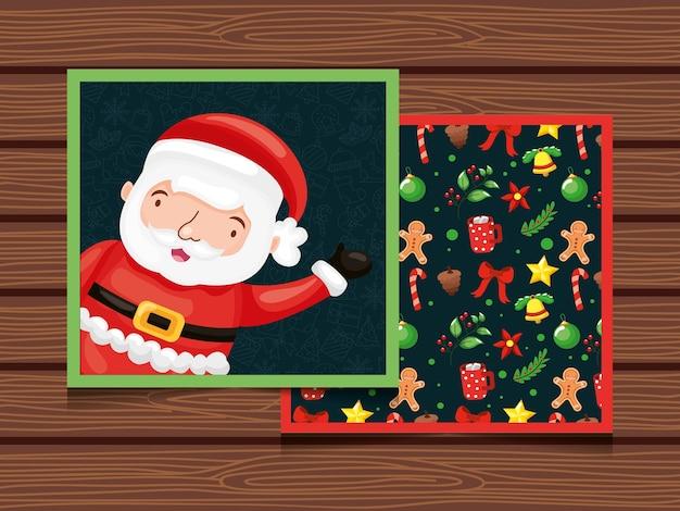 Cartão de natal com papai noel e padrão sem emenda sobre fundo de madeira.