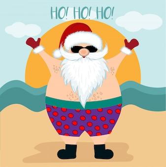 Cartão de natal com papai noel na praia