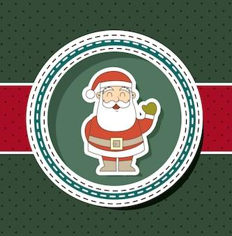 Cartão de natal com papai noel sobre ilustração vetorial de fundo verde