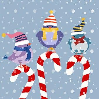 Cartão de natal com pássaros engraçados