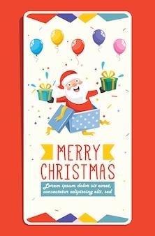 Cartão de natal com personagem de desenho animado