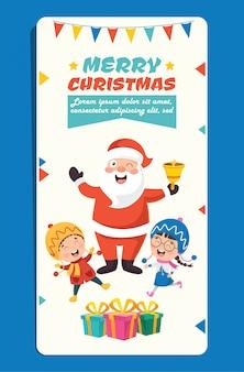 Cartão de natal com personagens de desenhos animados