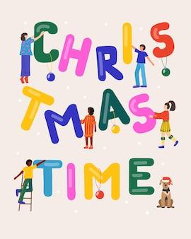 Cartão de natal com pessoas felizes segurando letras coloridas