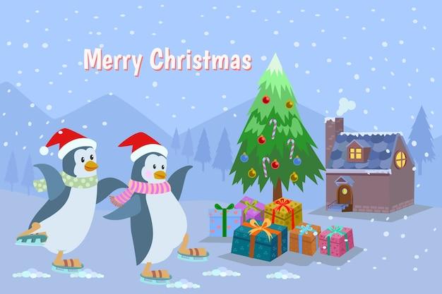 Cartão de natal com pinguins de bonito dos desenhos animados.