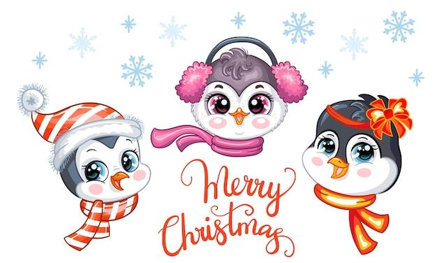 Cartão de natal com pinguins fofos