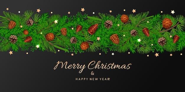 Cartão de natal com pinheiro e abeto