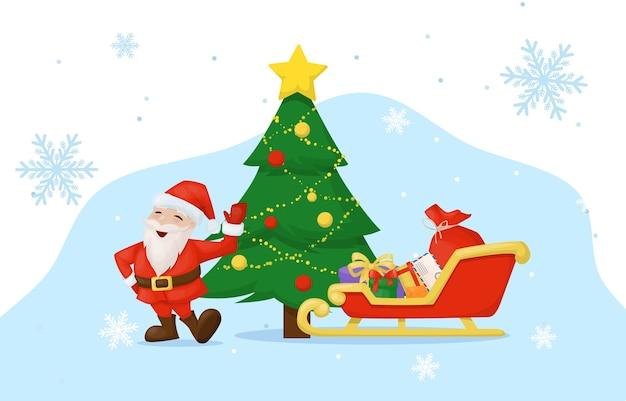 Cartão de natal com presentes e papai noel. saudação cartão de festa de ano novo.