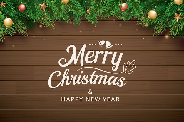 Cartão de natal com ramo de abeto em madeira marrom