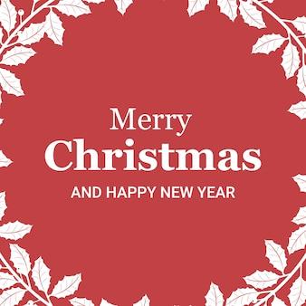Cartão de natal com ramos de azevinho nos cantos
