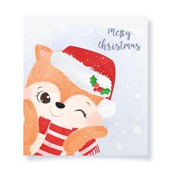Cartão de natal com raposa fofa