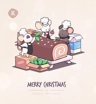 Cartão de natal com ratos bonitos dos desenhos animados em vetor