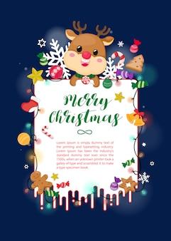 Cartão de natal com rena, enfeite de natal e floco de neve