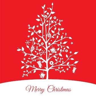 Cartão de natal com silhueta de árvore de natal em fundo vermelho