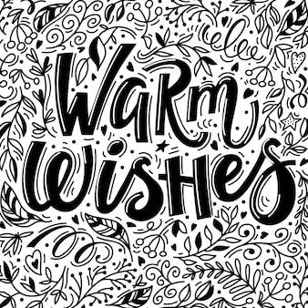 Cartão de natal com texto de desejos quentes e mão desenhada doodle elementos