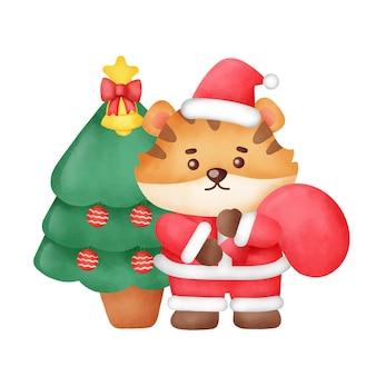 Cartão de natal com tigre fofo e árvore de natal em estilo aquarela.
