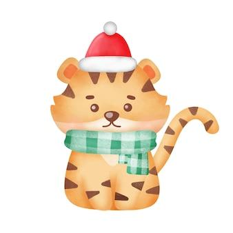 Cartão de natal com tigre fofo em estilo aquarela.