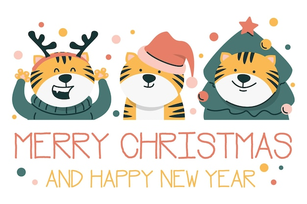 Cartão de natal com três tigres isolados