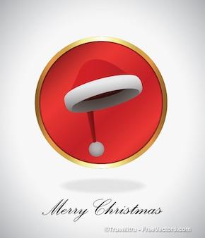 Cartão de natal com um chapéu vermelho no centro