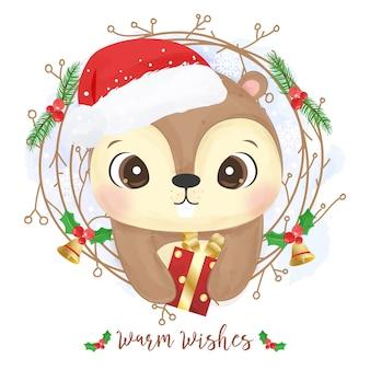 Cartão de natal com um esquilo fofo