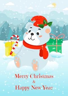 Cartão de natal com um urso branco em um chapéu e um doce na borda da floresta. ilustração vetorial