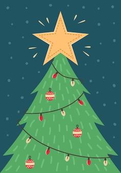 Cartão de natal com uma árvore de natal com brinquedos e uma guirlanda. cartão de felicitações de ano novo.