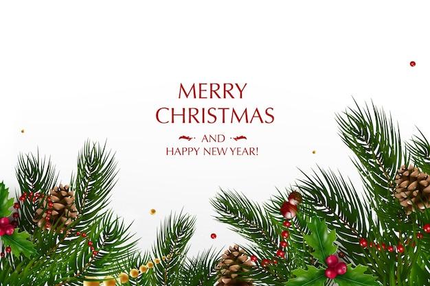 Cartão de natal com uma composição de elementos festivos, como estrela dourada, bagas, decorações para a árvore de natal, ramos de pinheiro. feliz natal e feliz ano novo.
