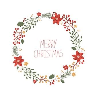 Cartão de natal com uma moldura de visco, holly, flores, baga, árvore e com letras de feliz natal no estilo desenhado à mão.