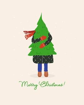 Cartão de natal com uma mulher segurando uma árvore de natal