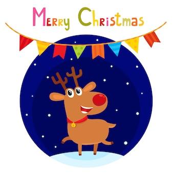 Cartão de natal com uma rena fofa dos desenhos animados, personagem de desenho animado, símbolo do ano novo