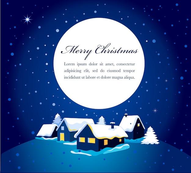 Cartão de natal com uma visão noturna de uma cidade na neve. fundo para cartaz, banner ou cartão