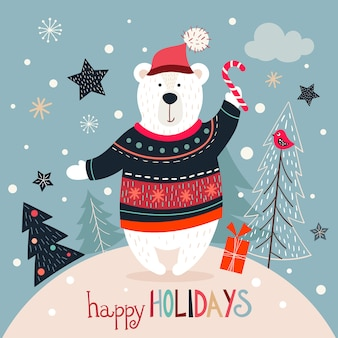 Cartão de natal com urso branco sobre um fundo de inverno