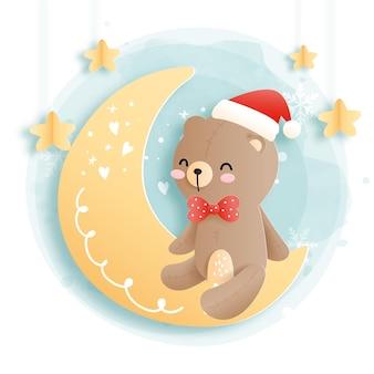 Cartão de natal com urso fofo. ursinho de pelúcia, natal da floresta