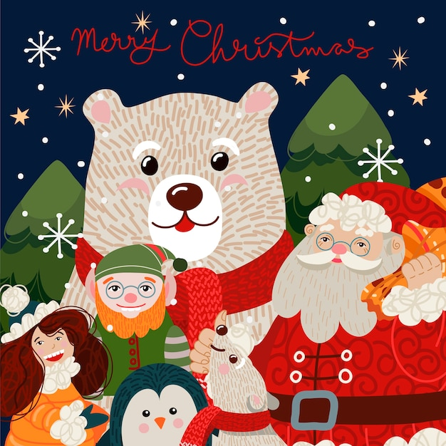 Cartão de natal com urso polar fofo em um lenço vermelho.