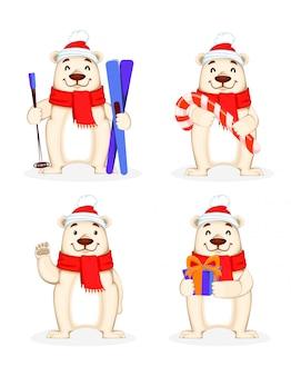 Cartão de natal com urso polar