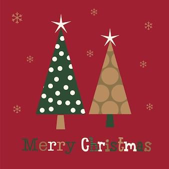 Cartão de natal com vetor de design de árvore de natal de luxo