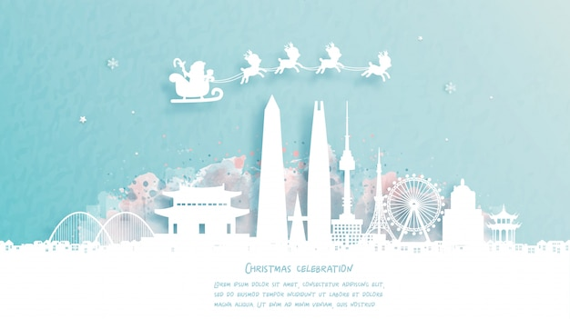 Cartão de natal com viagens para seul, conceito da coreia do sul. papai noel fofo e renas. marco mundialmente famoso na ilustração do estilo do corte de papel.
