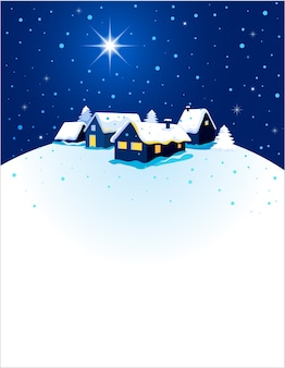 Cartão de natal com vista noturna de uma cidade na neve