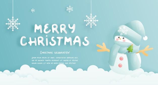 Cartão de natal, comemorações com boneco de neve fofo e cena de natal
