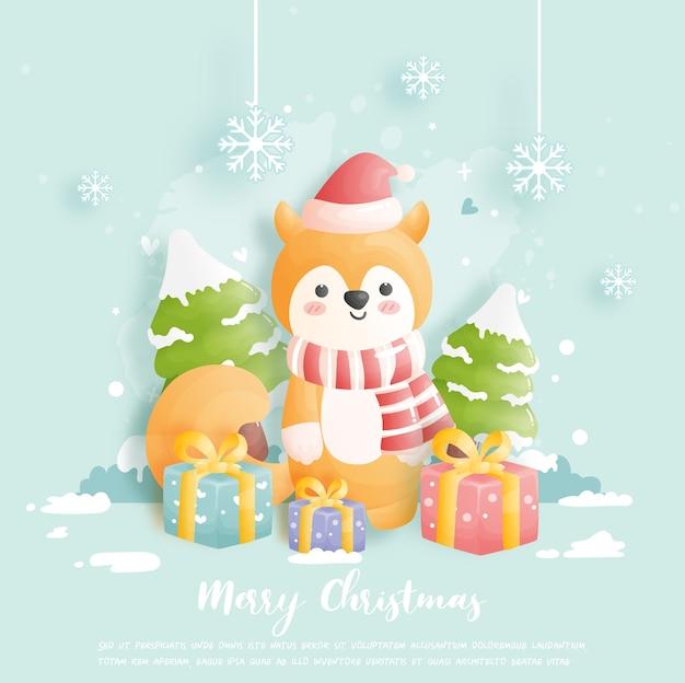 Cartão de natal, comemorações com raposa fofa e caixa de presente e cena de natal