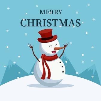 Cartão de natal de boneco de neve lindo