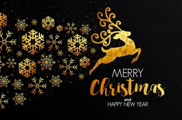 Cartão de natal de férias feito de triângulos, renas e flocos de neve