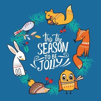 Cartão de natal de inverno com ilustração vetorial de animais fofos raposa, lebre, coruja, esquilo e ouriço.