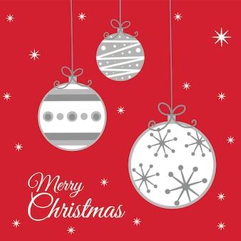 Cartão de natal de luxo com decoração bugiganga nas cores vermelha e branca