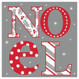 Cartão de natal de luxo com design de letras de noel