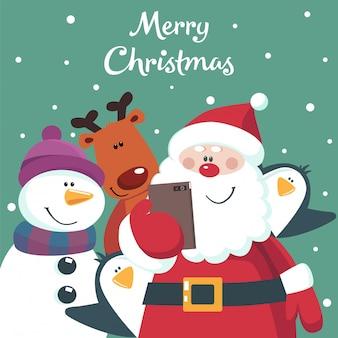 Cartão de natal de papai noel, boneco de neve, veado e pinguins tirando foto.