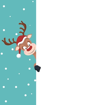 Cartão de natal de rena com fundo branco para escrever