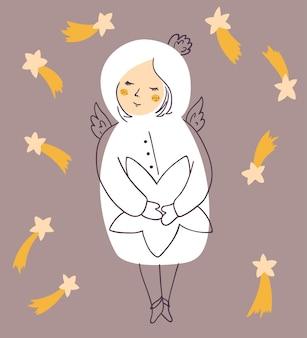 Cartão de natal de vetor com anjo rodeado por estrelas. desenho vetorial para cartões e convites.