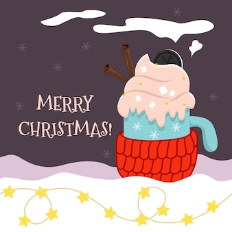 Cartão de natal de vetor com um copo de bebida quente em um porta-copos de malha