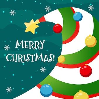 Cartão de natal de vetor com uma árvore de natal listrada incomum